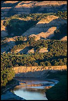 Badlands and Little Missouri river. Theodore Roosevelt National Park, North Dakota, USA. (color)