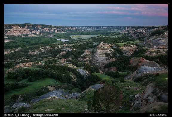 Badlands and Little Missouri oxbow bend at dusk. Theodore Roosevelt National Park (color)