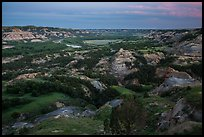 Badlands and Little Missouri oxbow bend at dusk. Theodore Roosevelt National Park ( color)