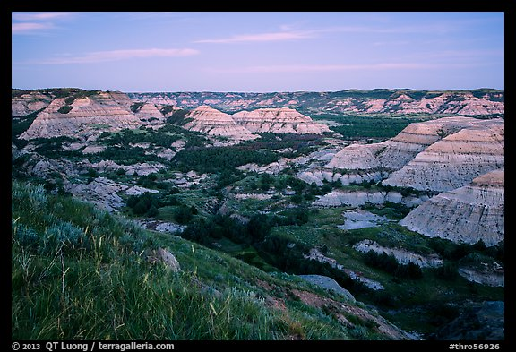 Badlands at dusk. Theodore Roosevelt National Park (color)