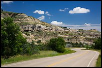 Scenic drive and colorful badlands, North Unit. Theodore Roosevelt National Park, North Dakota, USA.