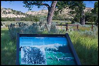 Roosevelt Elkhorn Ranch site interpretative sign. Theodore Roosevelt National Park, North Dakota, USA. (color)