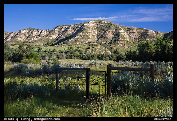 Fence around ranch house site, Elkhorn Ranch Unit. Theodore Roosevelt National Park (color)