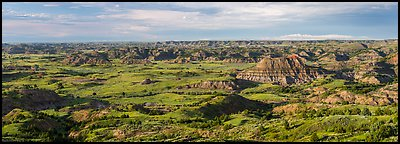 Wide view of Painted Canyon. Theodore Roosevelt National Park (Panoramic color)