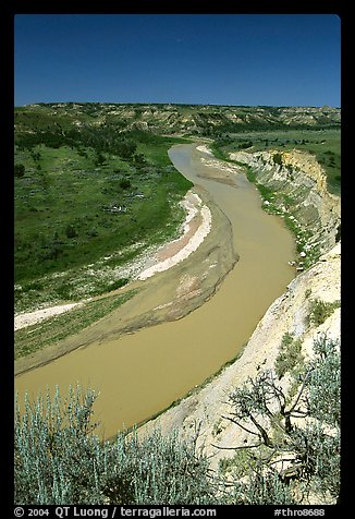 Bend of the Little Missouri River, mid-day. Theodore Roosevelt National Park (color)