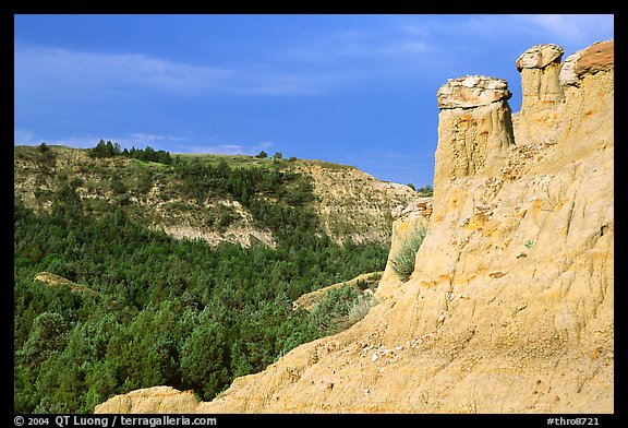 Caprock chimneys, Caprock coulee trail, North Unit. Theodore Roosevelt National Park (color)