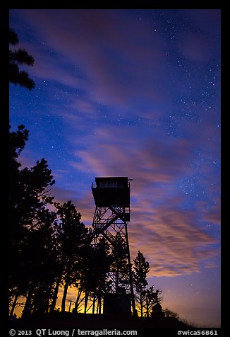Rankin Ridge tower at dusk and starry sky. Wind Cave National Park (color)