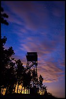 Rankin Ridge tower at dusk and starry sky. Wind Cave National Park ( color)