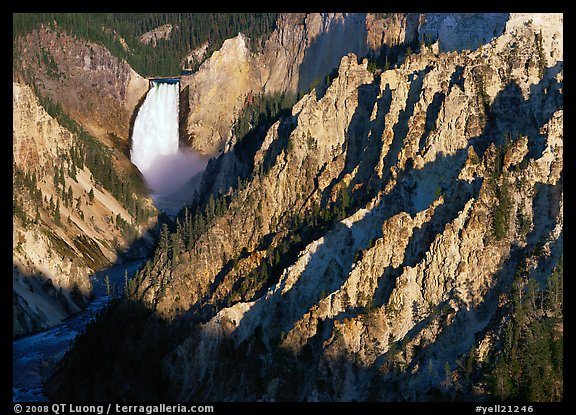 Falls of the Yellowstone River, early morning. Yellowstone National Park (color)