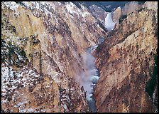 Grand Canyon of Yellowstone and Lower Falls with snow dusting. Yellowstone National Park, Wyoming, USA. (color)