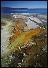 West Thumb geyser basin and Yellowstone lake. Yellowstone National Park, Wyoming, USA.