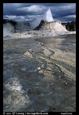 Castle Geyser in Upper Geyser Basin. Yellowstone National Park (color)