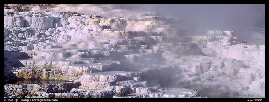 Thermal travertine terraces. Yellowstone National Park (color)