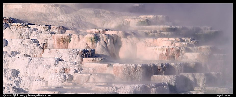 Travertine terraces and steam. Yellowstone National Park (color)