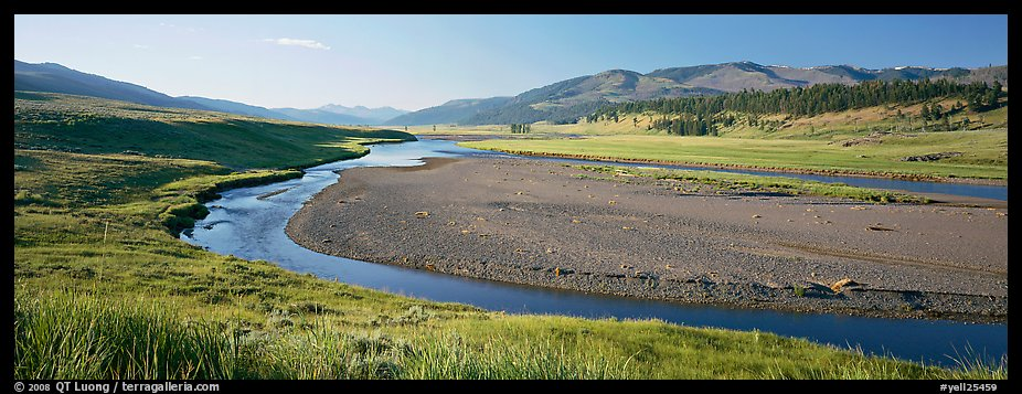 Wide valley and stream in summer. Yellowstone National Park (color)