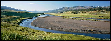Wide valley and stream in summer. Yellowstone National Park (Panoramic color)