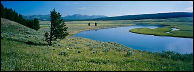 River and verdant meadows. Yellowstone National Park (Panoramic color)