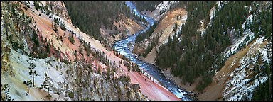 Yellowstone River meandering through canyon. Yellowstone National Park (Panoramic color)