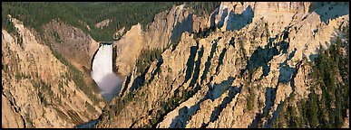 Yellowstone canyon and waterfall. Yellowstone National Park (Panoramic color)
