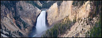 Falls of the Yellowstone River in Grand Canyon of Yellowstone. Yellowstone National Park (Panoramic color)