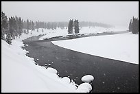 Lewis River in winter. Yellowstone National Park, Wyoming, USA.