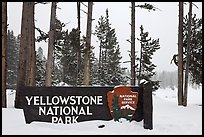 Park entrance sign in winter. Yellowstone National Park ( color)