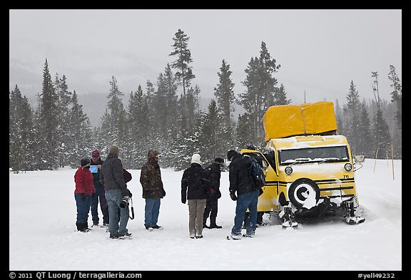 Travelers boarding snow bus. Yellowstone National Park (color)