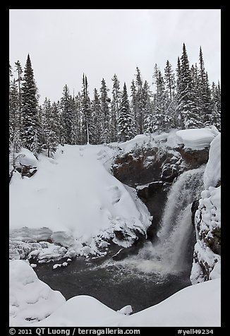 Moose Falls in winter. Yellowstone National Park (color)