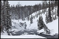 Lewis Falls in winter. Yellowstone National Park, Wyoming, USA.