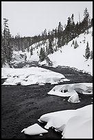 Lewis River and falls, winter. Yellowstone National Park ( color)