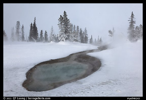 Thermal pool in winter, West Thumb Geyser Basin. Yellowstone National Park, Wyoming, USA.