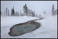 Thermal pool in winter, West Thumb Geyser Basin. Yellowstone National Park, Wyoming, USA. (color)