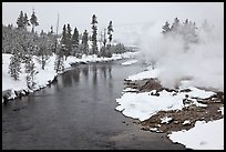 Thermal steam along the Firehole River in winter. Yellowstone National Park, Wyoming, USA.