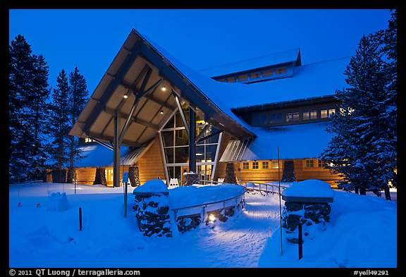 New Visitor Center at night. Yellowstone National Park (color)