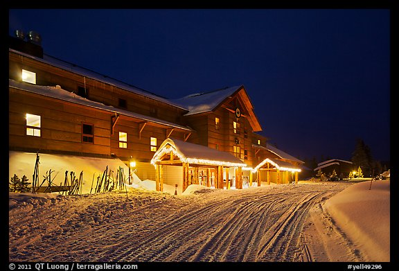 Old Faithful Snow Lodge at night, winter. Yellowstone National Park (color)