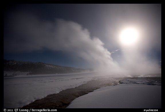 Run-off and geyser, steam obscuring moon, Old Faithful. Yellowstone National Park (color)