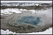 Gem pool seen from above, winter. Yellowstone National Park, Wyoming, USA. (color)