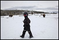 Child walking with buffaloes in the distance. Yellowstone National Park, Wyoming, USA. (color)