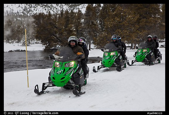 Snowmobile riders. Yellowstone National Park (color)