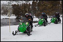 Snowmobile riders. Yellowstone National Park, Wyoming, USA. (color)