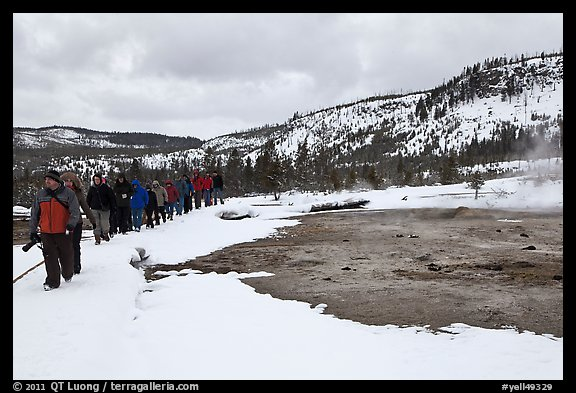 Large group of tourists in winter. Yellowstone National Park, Wyoming, USA.