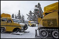 Bombardier snowcoaches. Yellowstone National Park, Wyoming, USA. (color)
