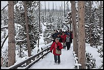 Tourists on boardwalk in winter. Yellowstone National Park, Wyoming, USA. (color)