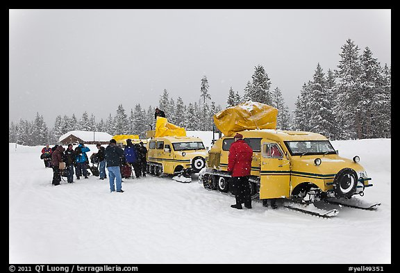 Winter tour snow coaches unloading, Flagg Ranch. Yellowstone National Park (color)