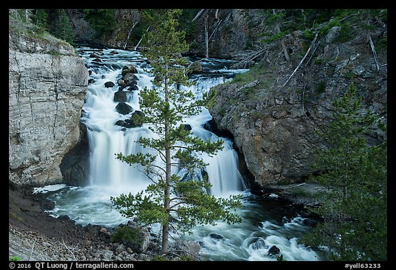 Firehole Falls in Firehole Canyon. Yellowstone National Park (color)