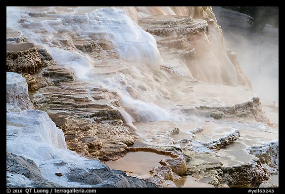 Travertine terraces, Canary Springs. Yellowstone National Park (color)