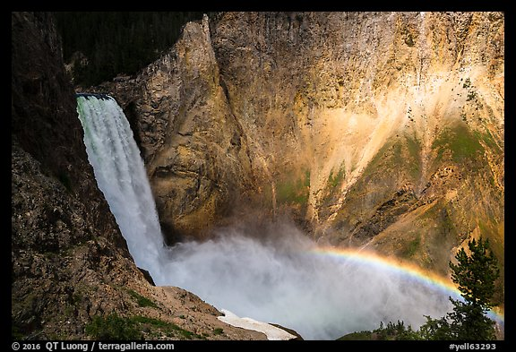 Lower Falls and rainbow, Grand Canyon of the Yellowstone. Yellowstone National Park (color)