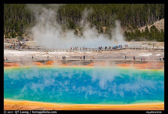 Grand Prismatic Spring and boardwalks. Yellowstone National Park (color)