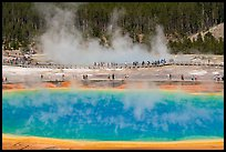 Grand Prismatic Spring and boardwalks. Yellowstone National Park ( color)