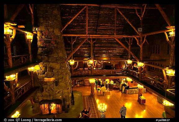 Main hall of Old Faithful Inn. Yellowstone National Park (color)
